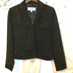 Wilsons Leather Brown Suede Leather Fitted Jacket